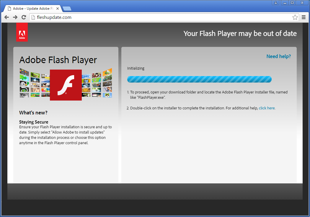 Locky ransomware being distributed through fake flash How to start flash player