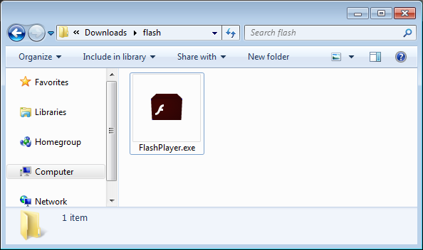 Flash Icon in Downloaded File