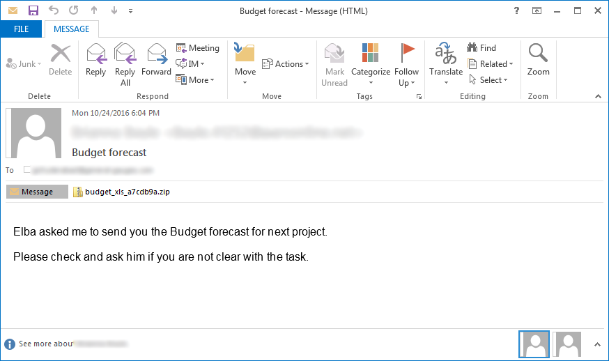 Budget Forecast Locky SPAM Email