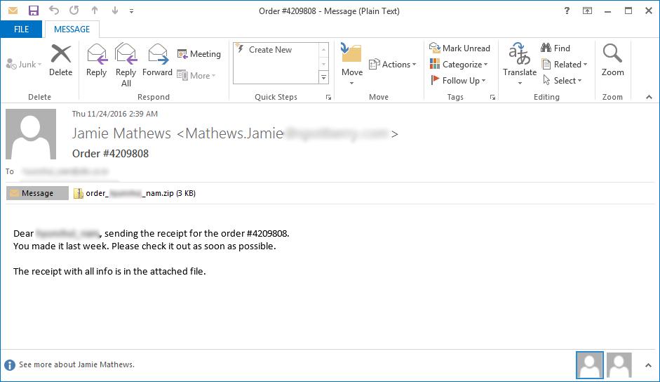 Locky ZZZZZ Variant SPAM Email