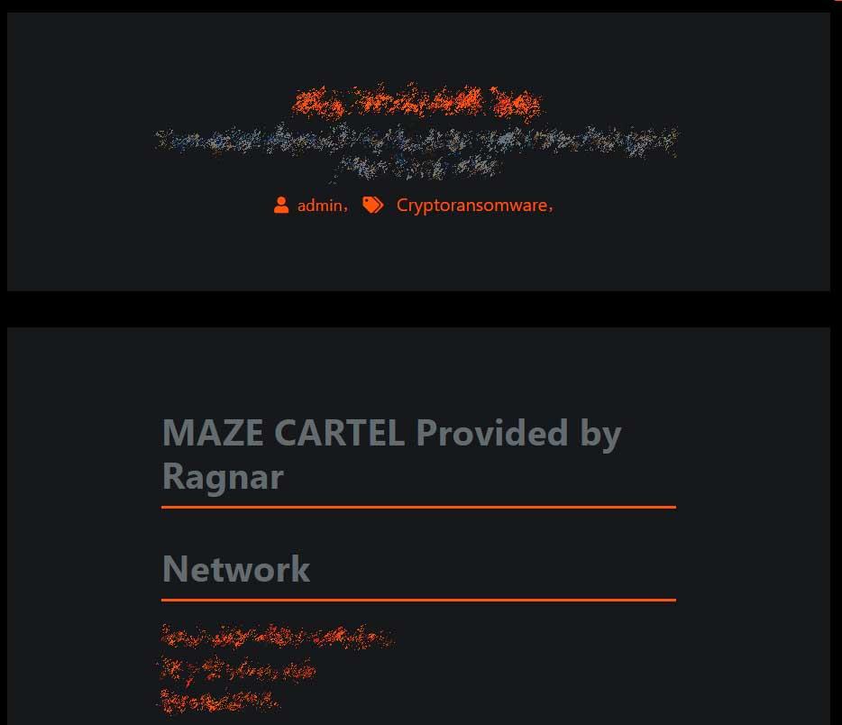 Ragnar Lock victim on Maze's data leak site