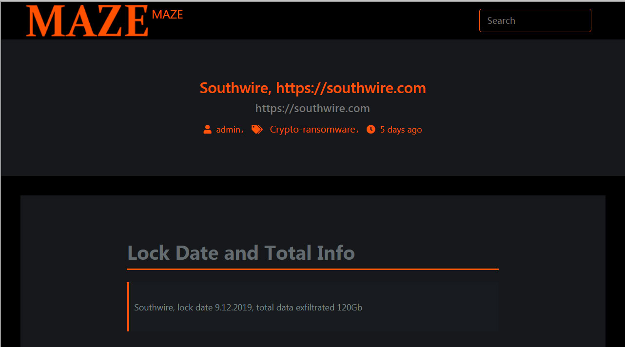 Southwire Data Published by Maze
