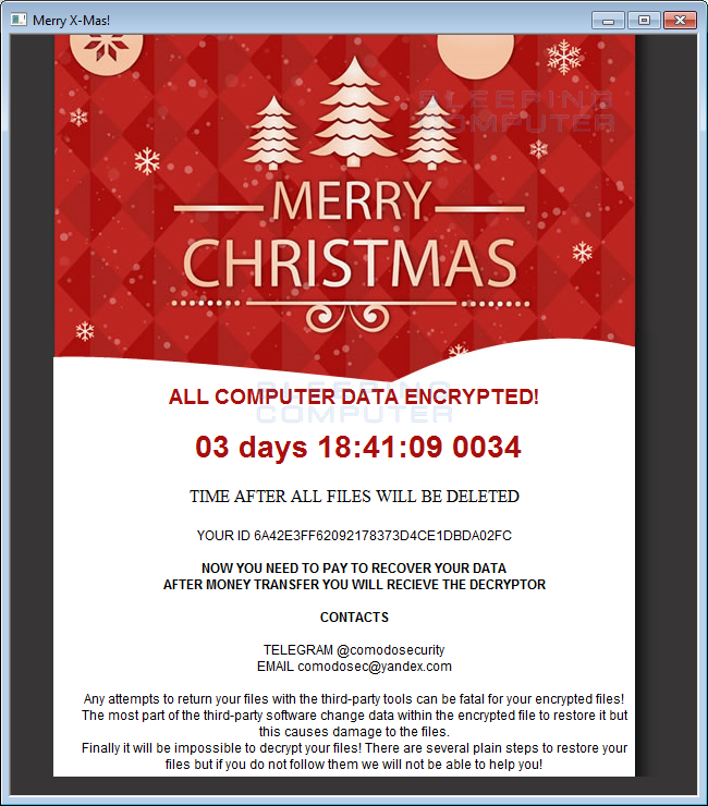 Merry X-Mas Ransomware Ransom Note