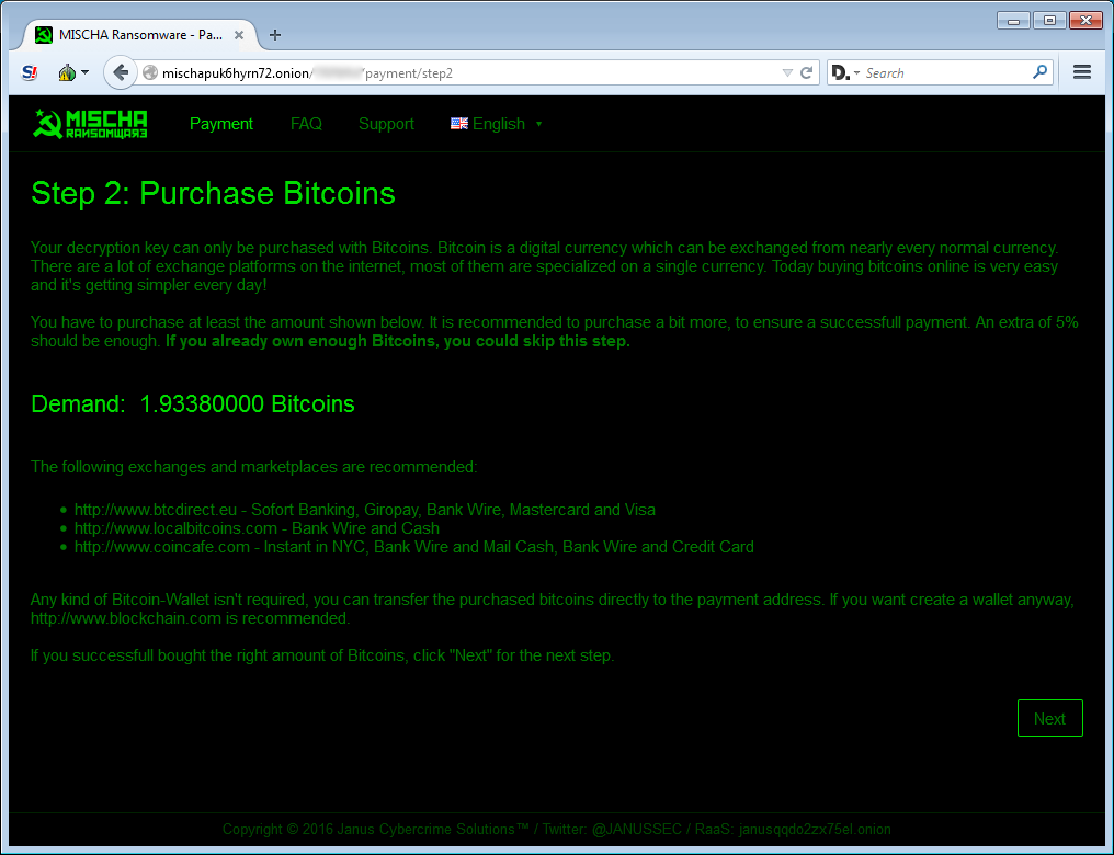 Payment Page Step 2
