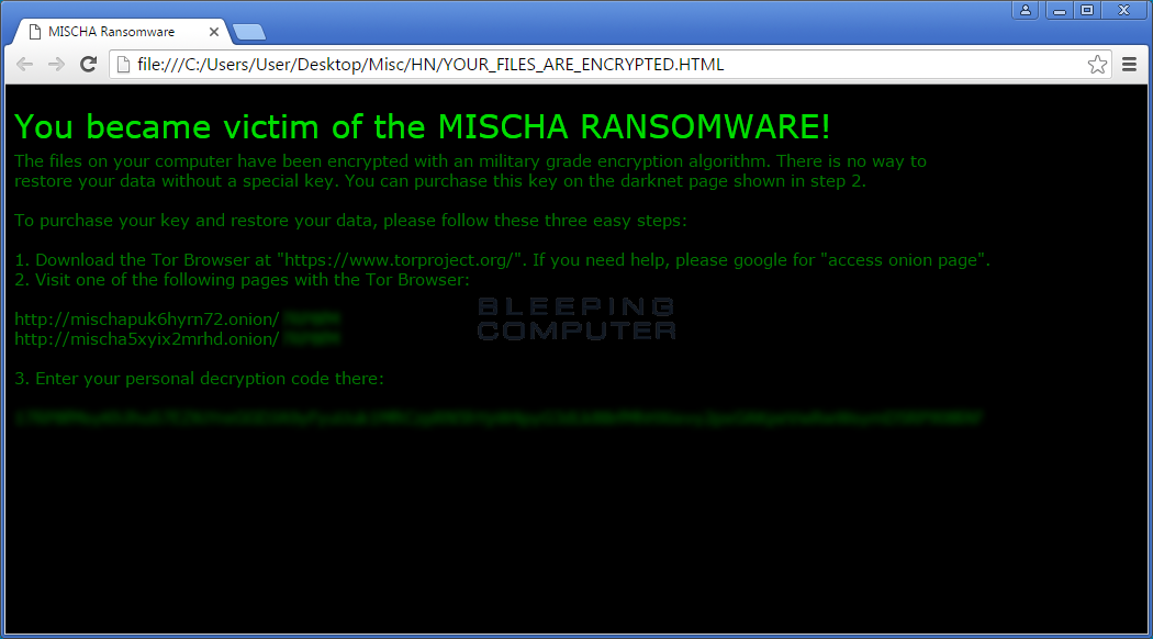 Mischa Ransomware Ransom Note