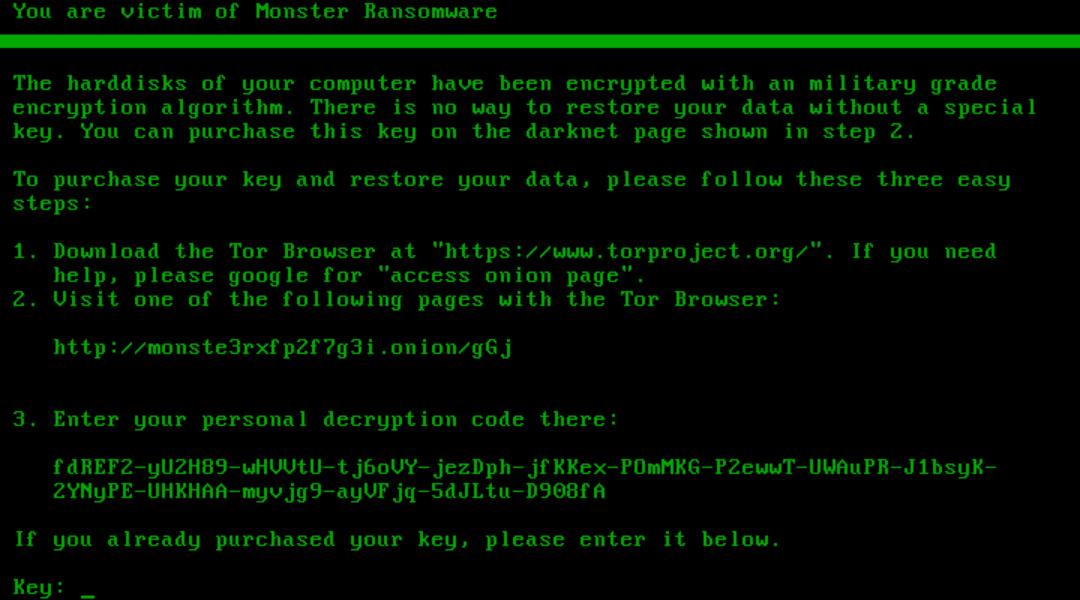 Monster ransomware ransom demand