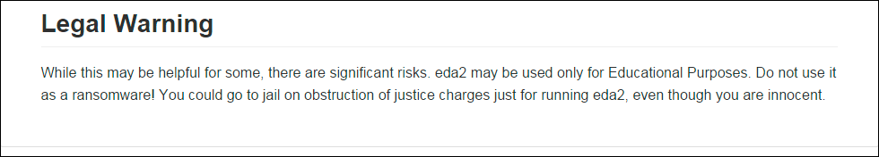 Disclaimer posted on the open source eda2 project