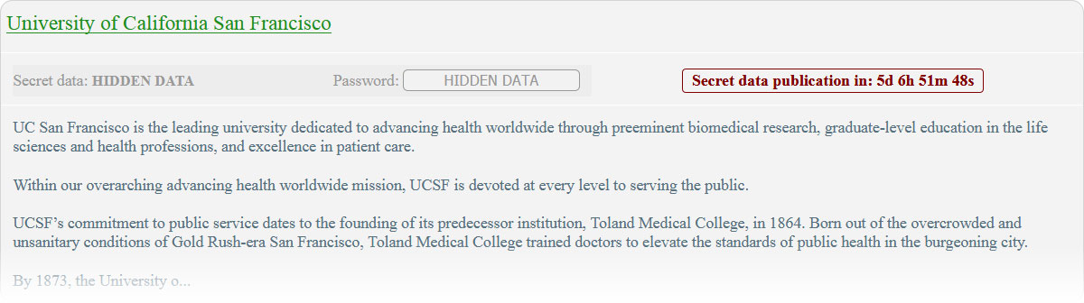 UCSF entry on Netwalker's data leak site