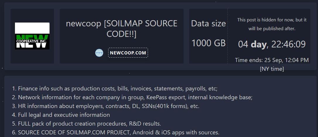 Non-public data leak page for NEW Cooperative