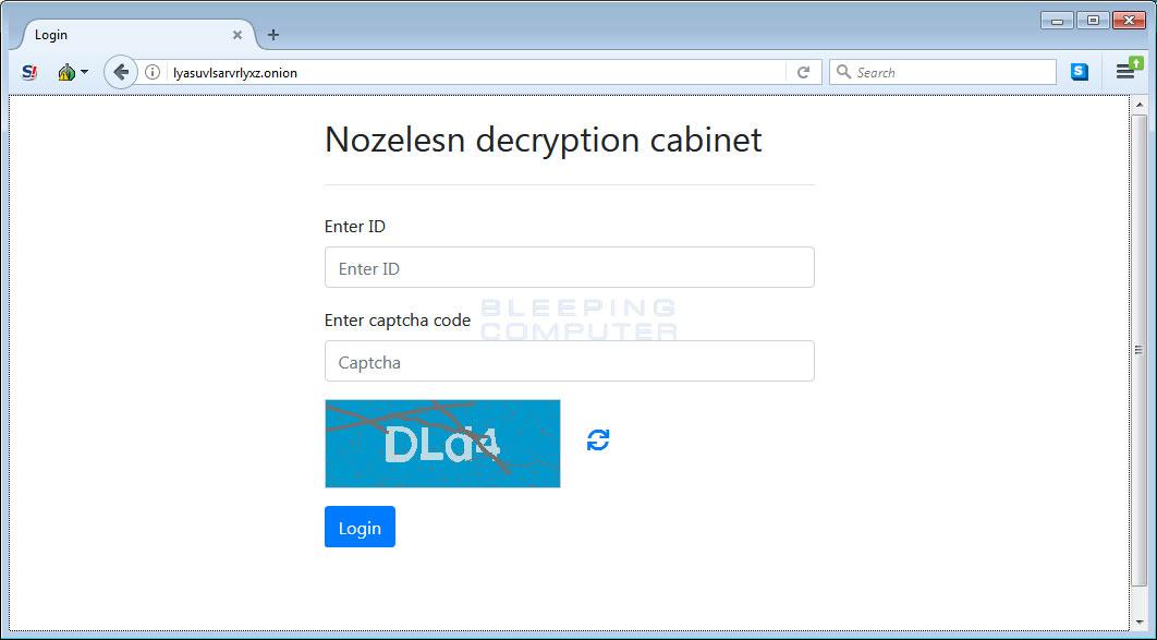Nozelesn decryption cabinet login page