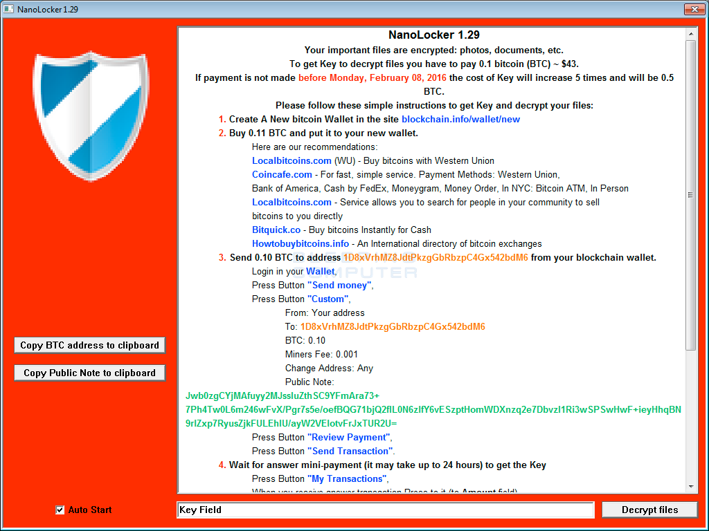 NanoLocker Ransom Screen