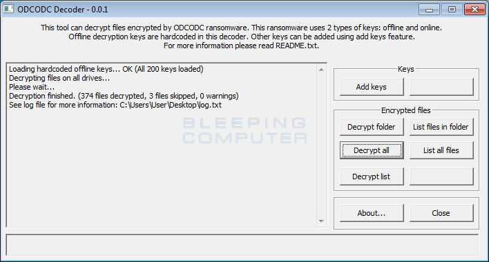 ODCODC Decoder Finished Decrypting