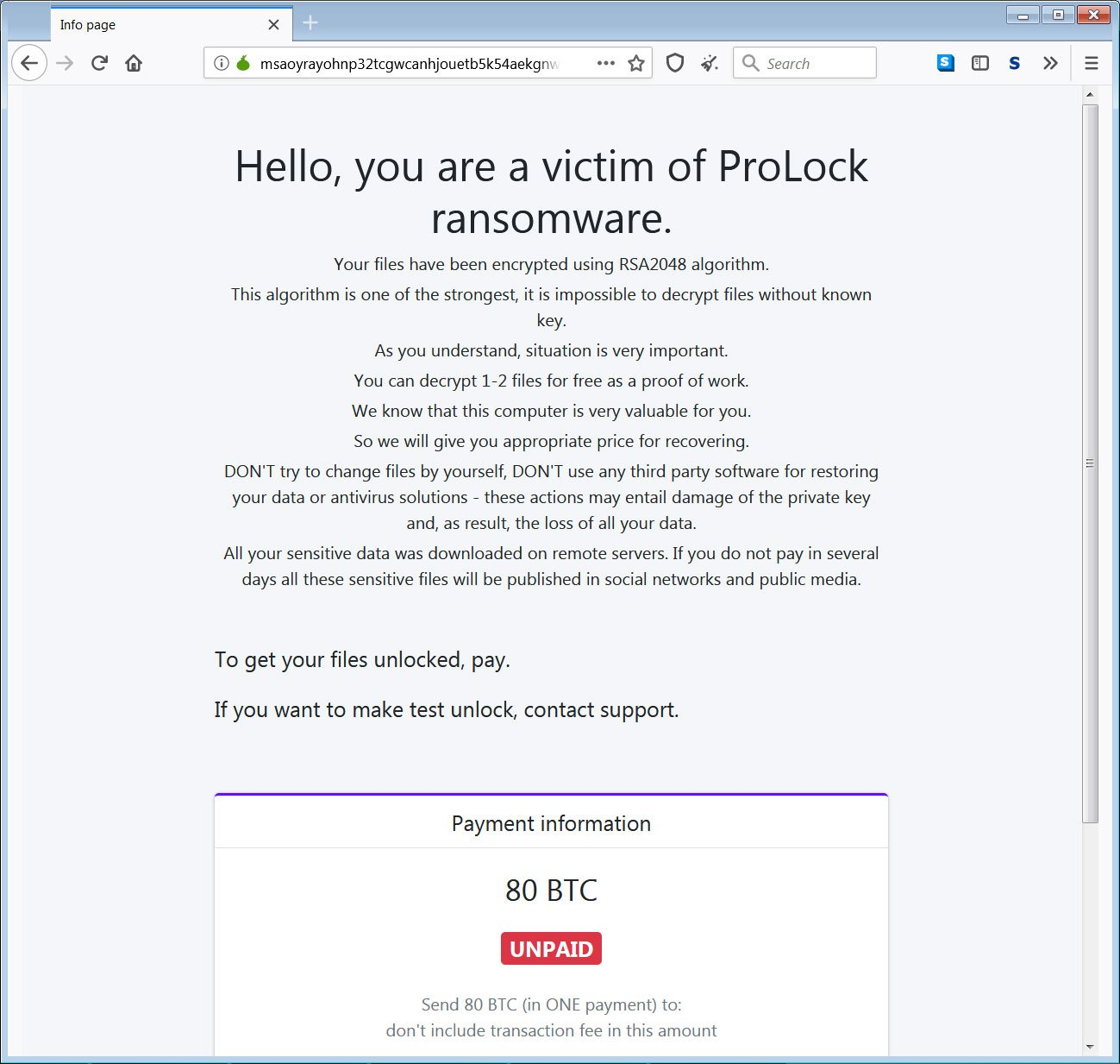 ProLock Ransomware Tor Payment Site