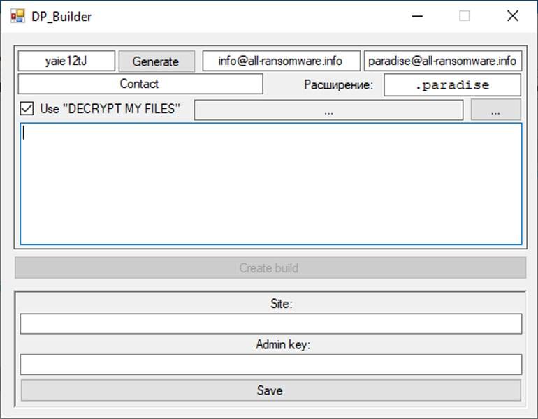 Paradise Ransomware builder