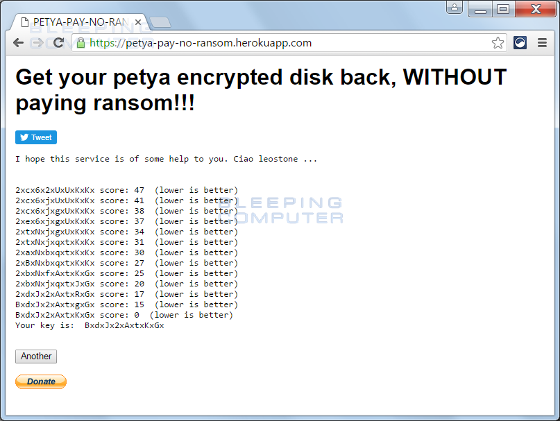 Petya Decryption Key Found