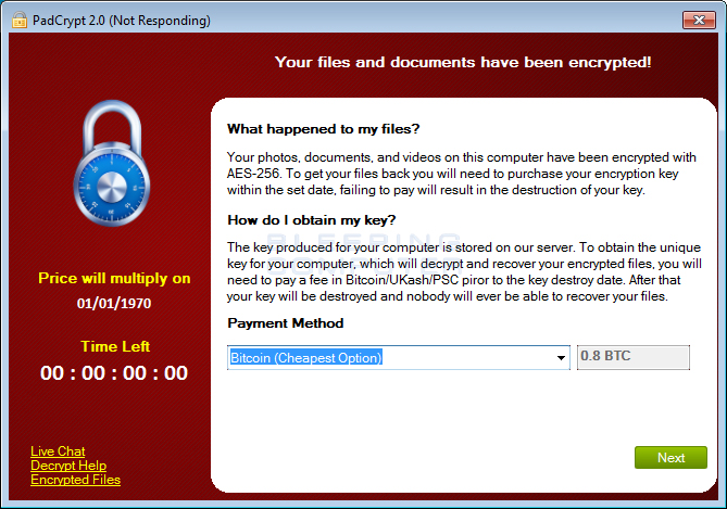 PadCrypt Ransomware Screen