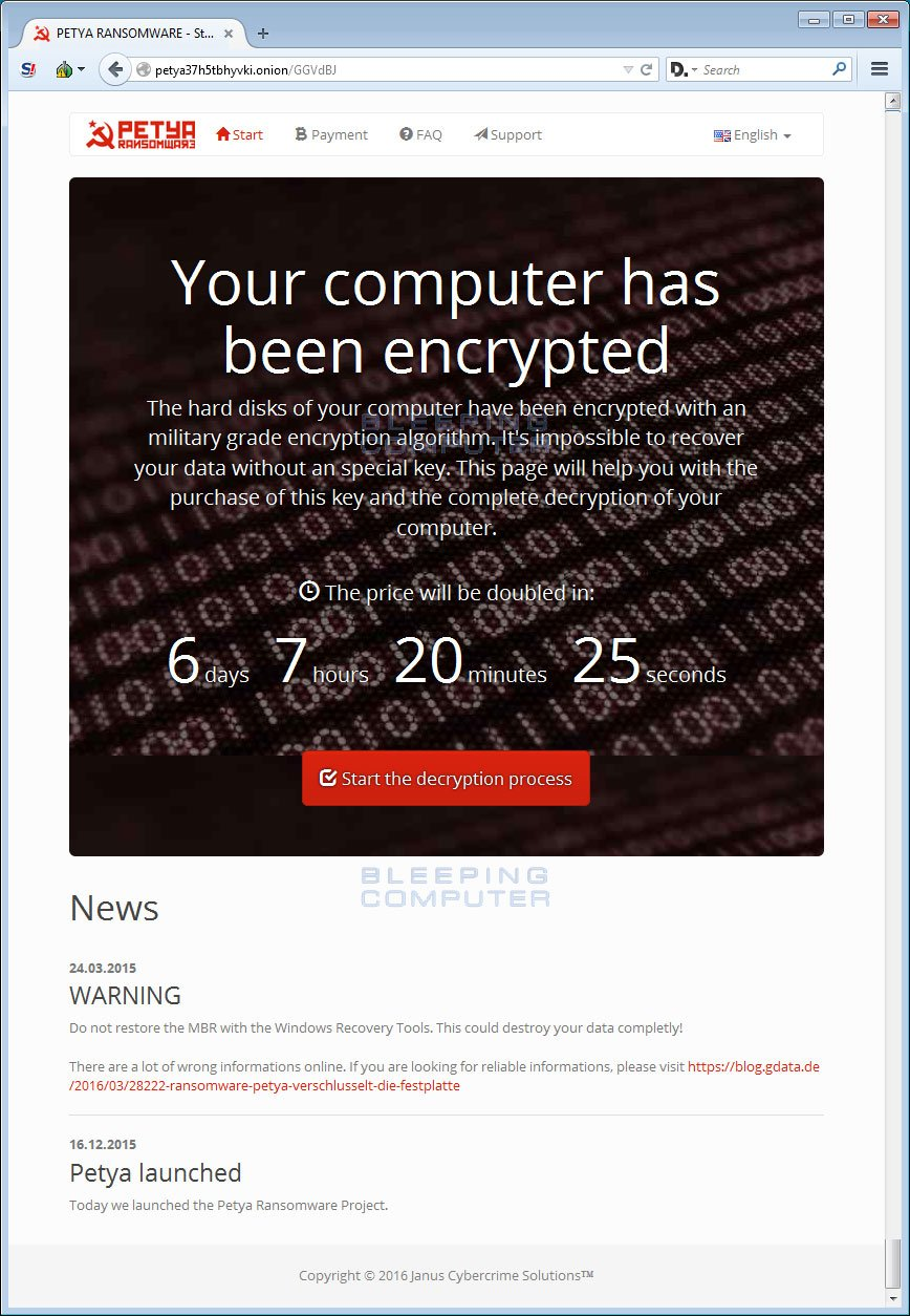 Petya Decryption Site