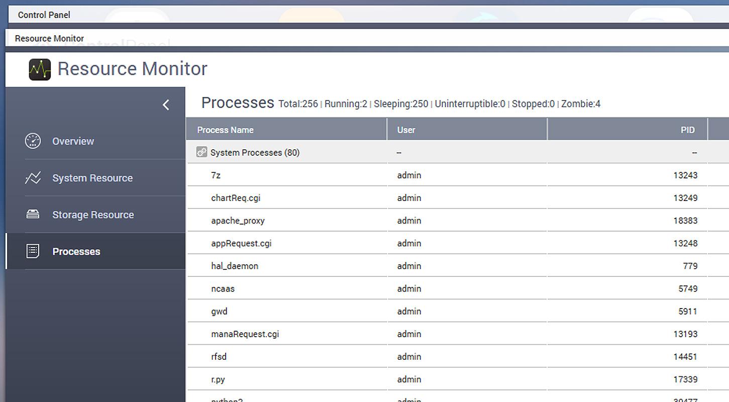 7zip seen running in the QNAP Resource Monitor