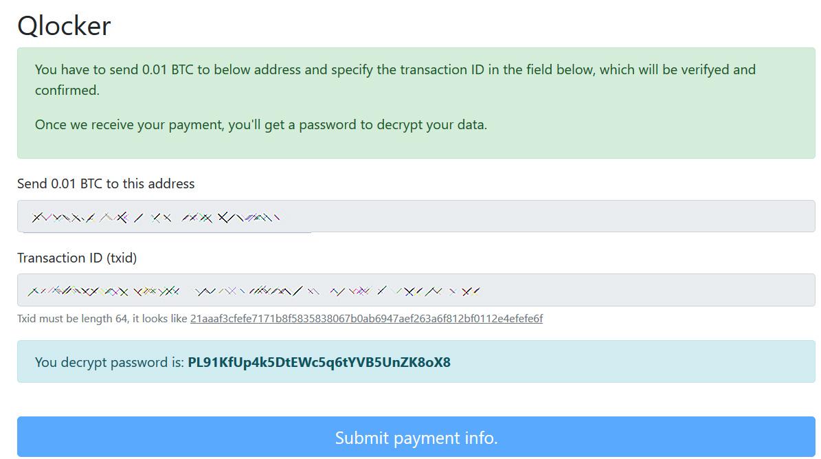 Le mot de passe affiché après le paiement d'une rançon
