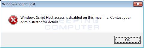Windows Scripting Host Disabled
