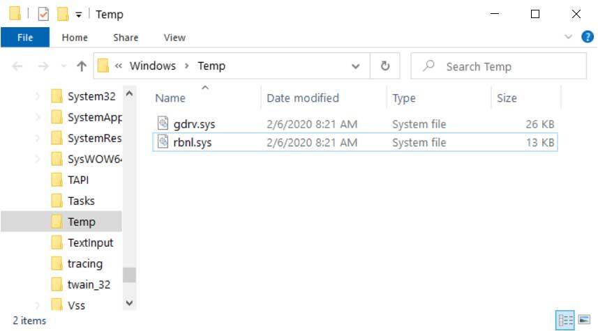 Drivers in the Windows Temp Folder