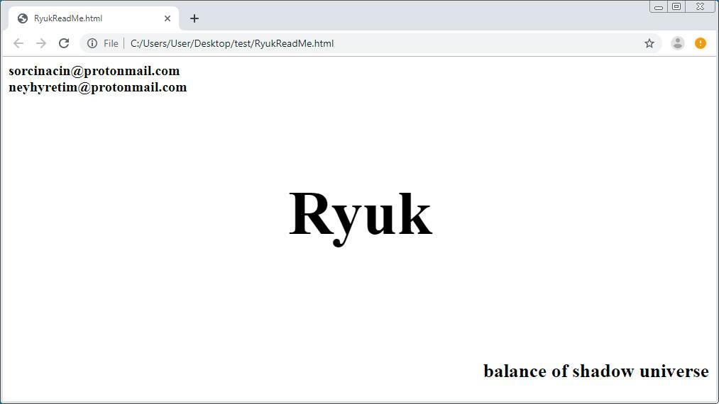 Ryuk Ransom Note