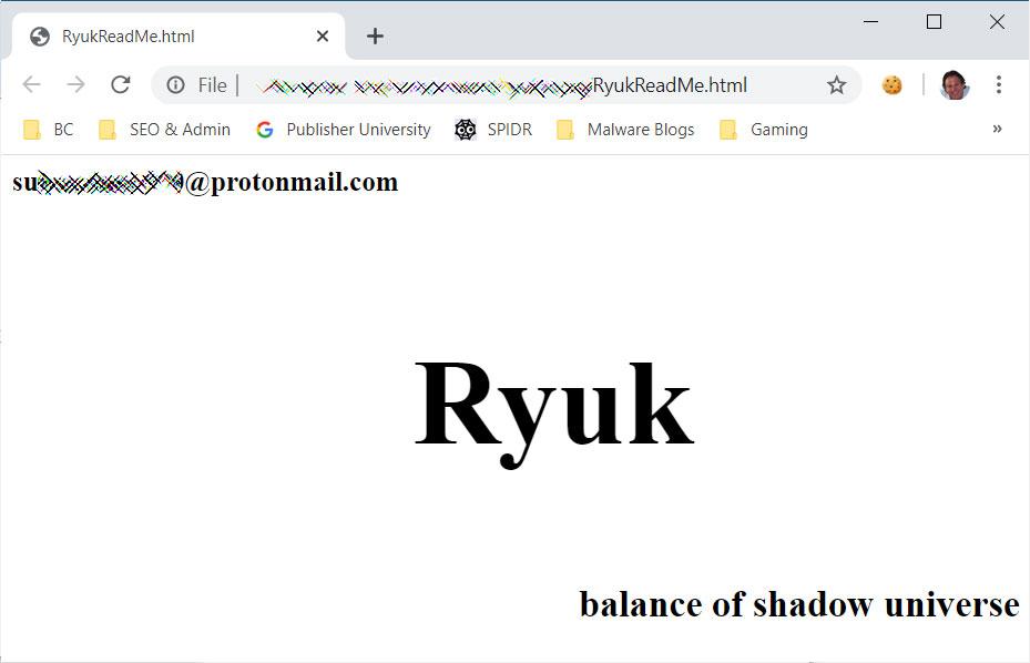 Epiq Global's Ryuk Ransom Note