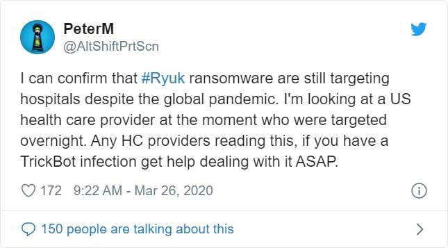 PeterM Ryuk Ransomware Tweet