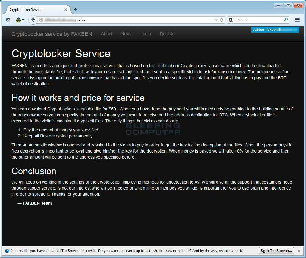 Cryptolocker Service About Page