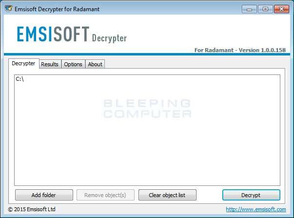 Radamant DecrypterScreen