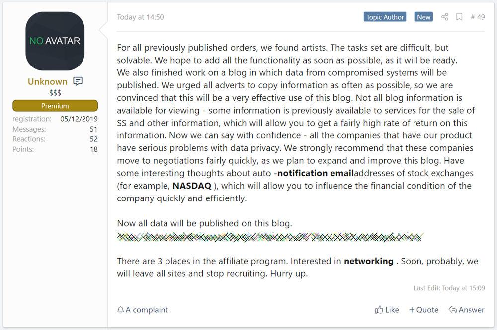 Sodinokibi plans for their data leak site
