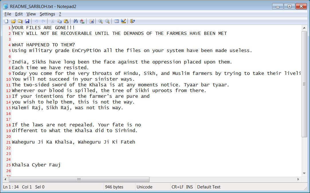 Sarbloh ransom note