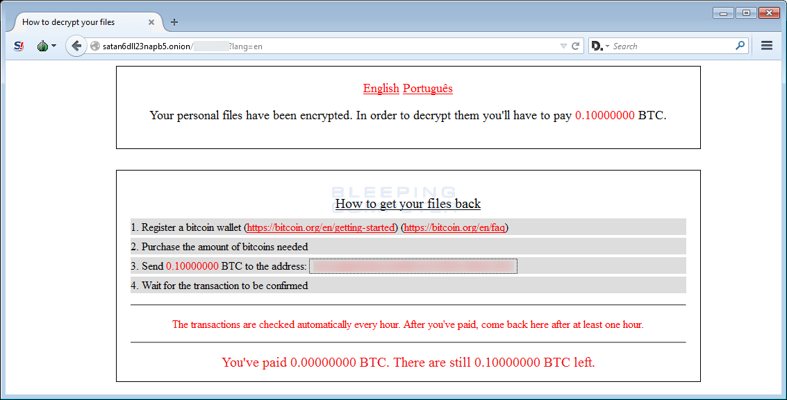 New Satan Ransomware available through a Ransomware as a