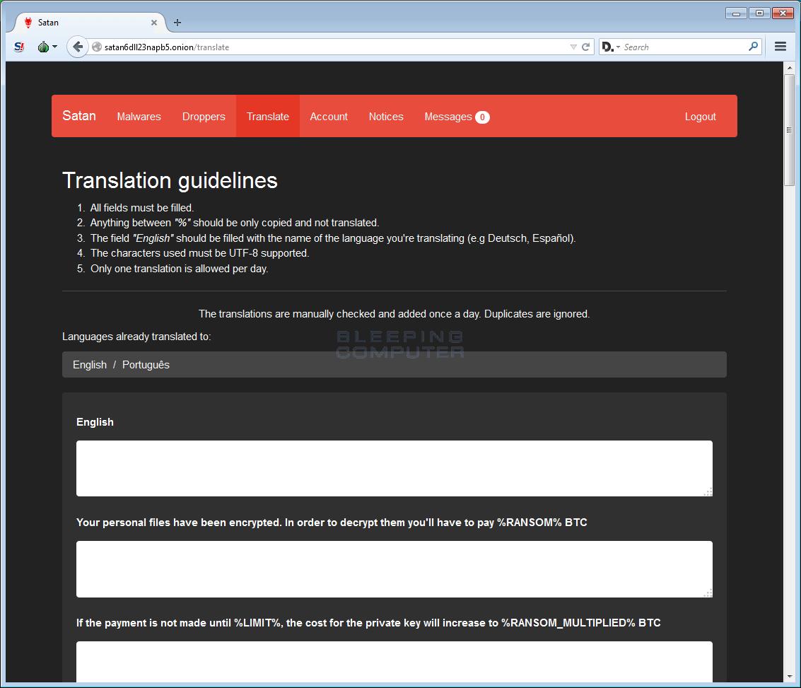 Satan RaaS Translation Page