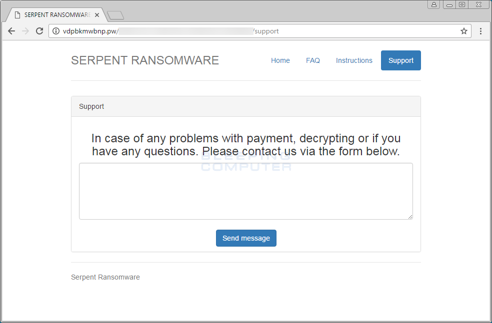 Serpent Ransomware Support Page
