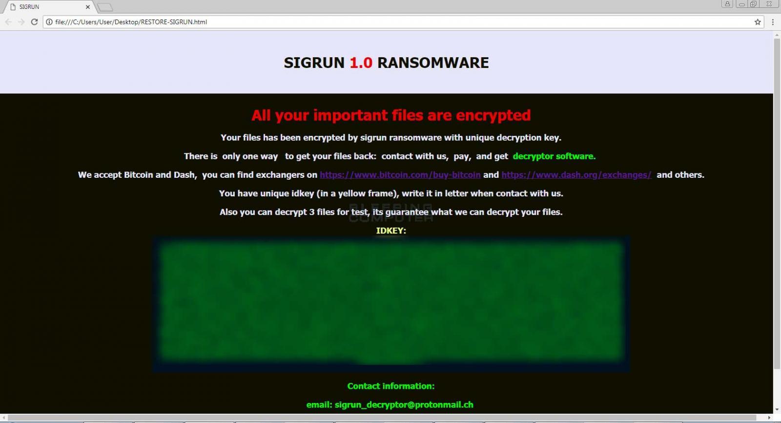 Sigrun HTML Ransom Note