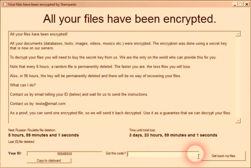 Stampado Ransom Screen