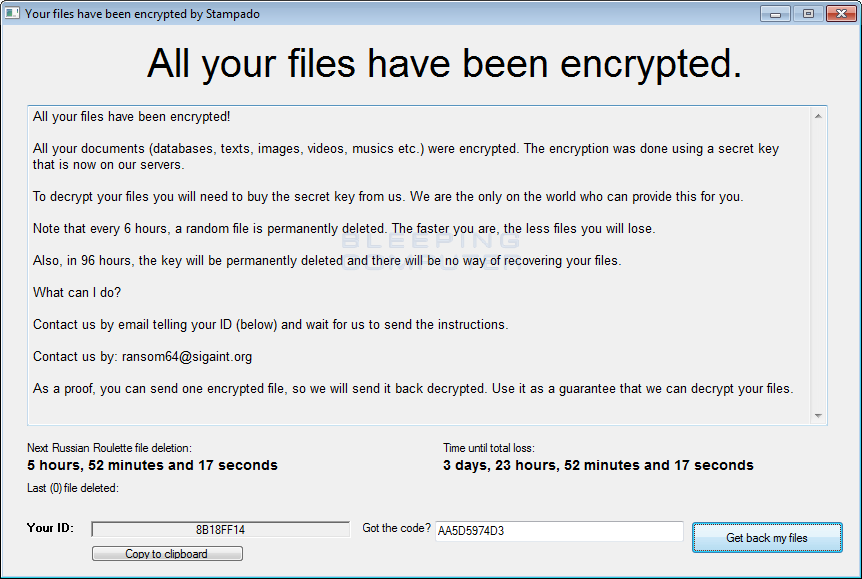 Stampado Ransomware campaign decrypted before it Started