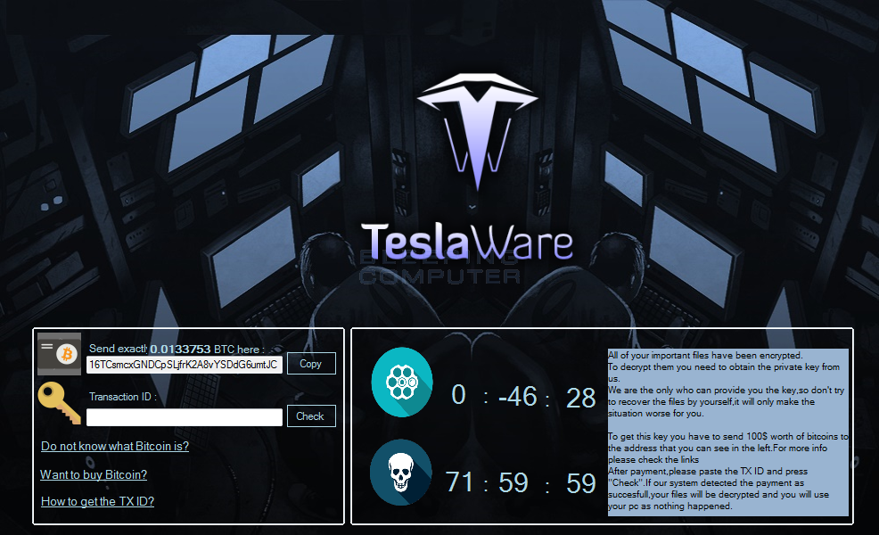 TeslaWare Ransom Screen