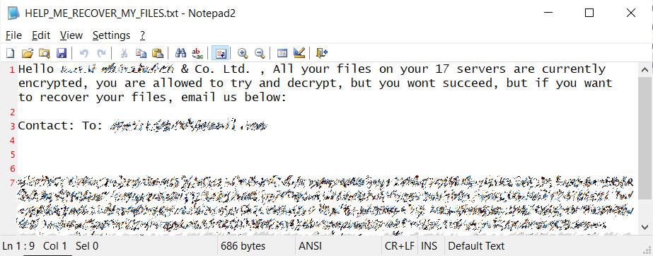 Thanos ransom note