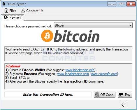 Bitcoin Payment Screen
