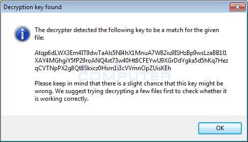 Decryption Key Found