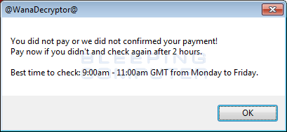 Payment not made Response
