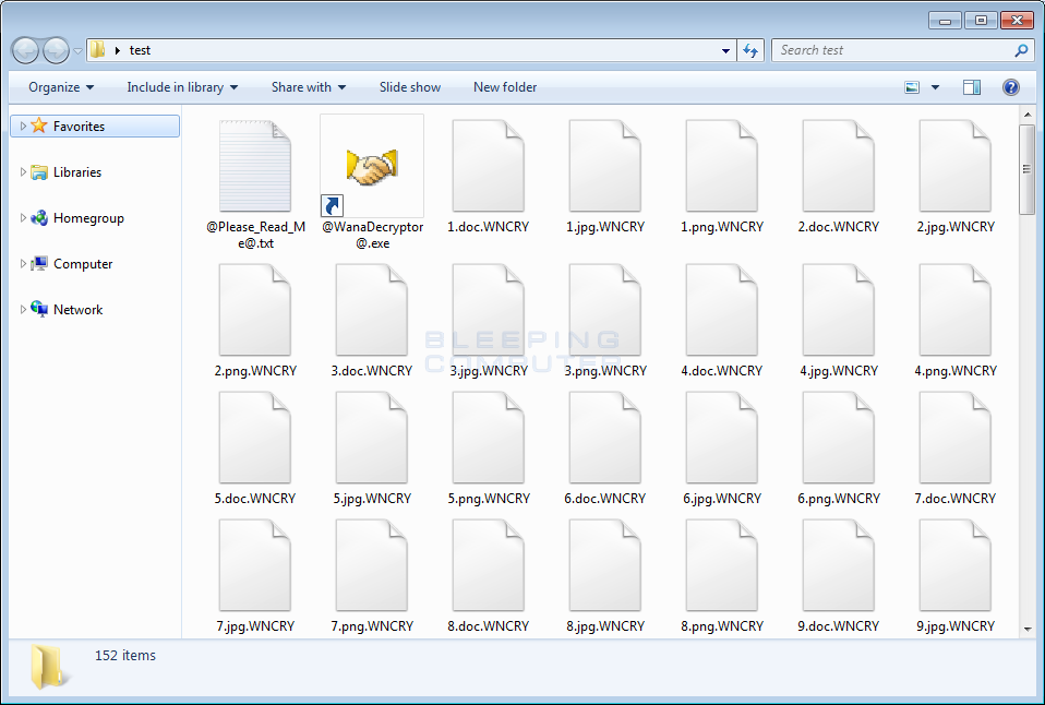 Folder of WNCRY Encrypted Files