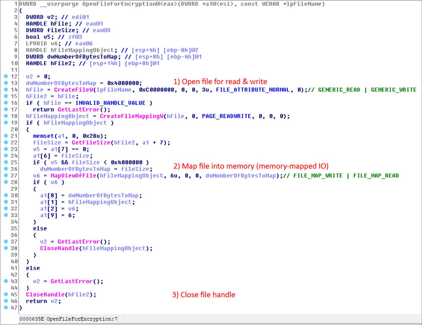 Código que abre un archivo para encriptar