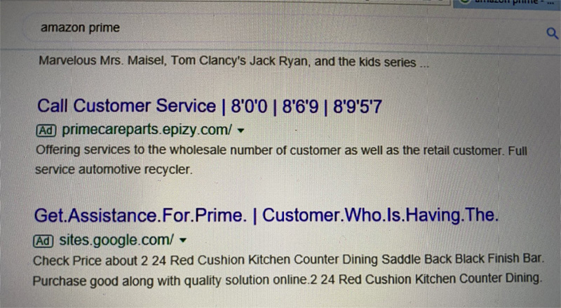Scam ads in Google Search results