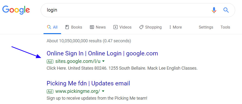 Tech Support Scam ads in Google Search